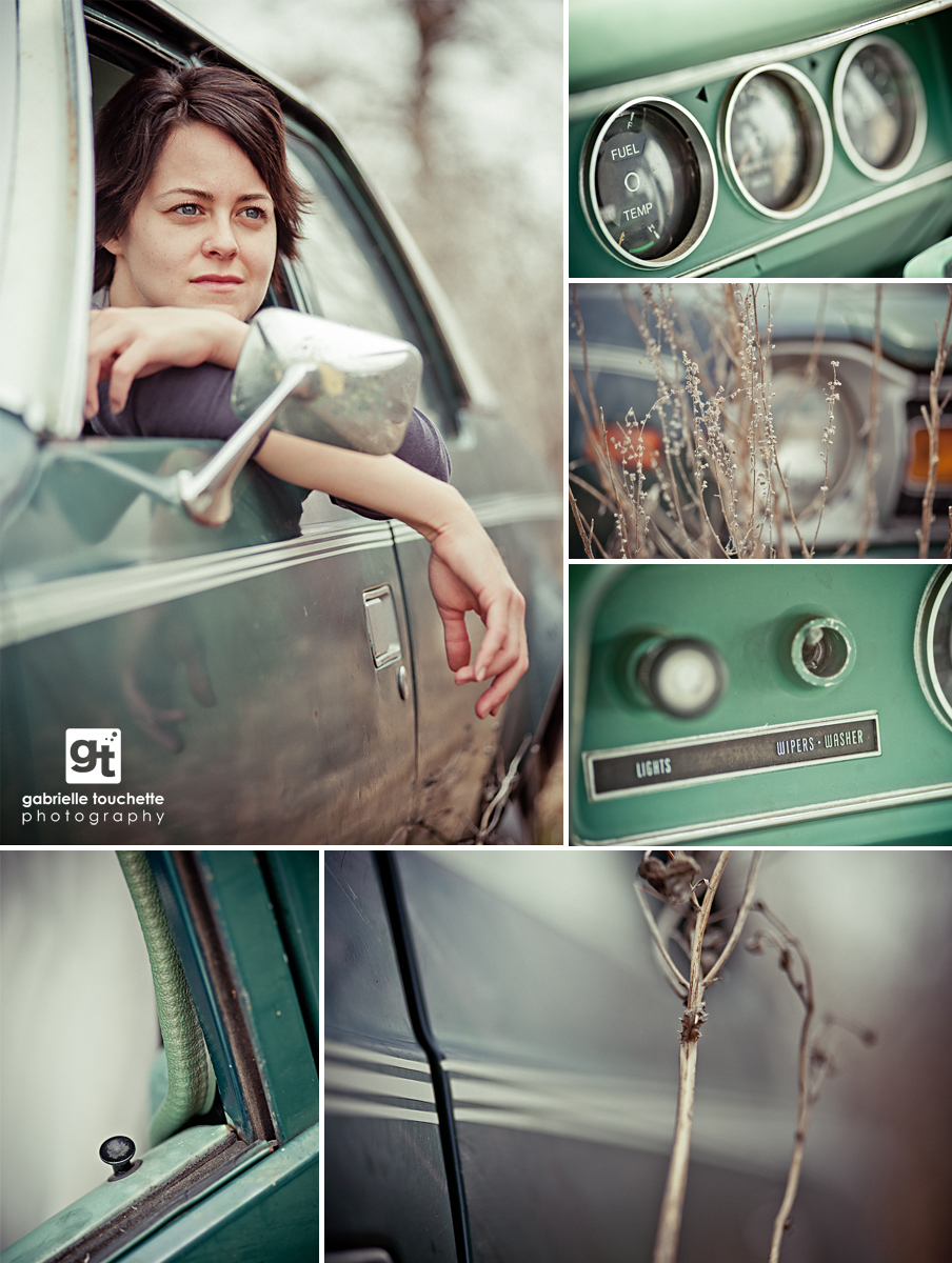 portrait photography: Bev and an old car
