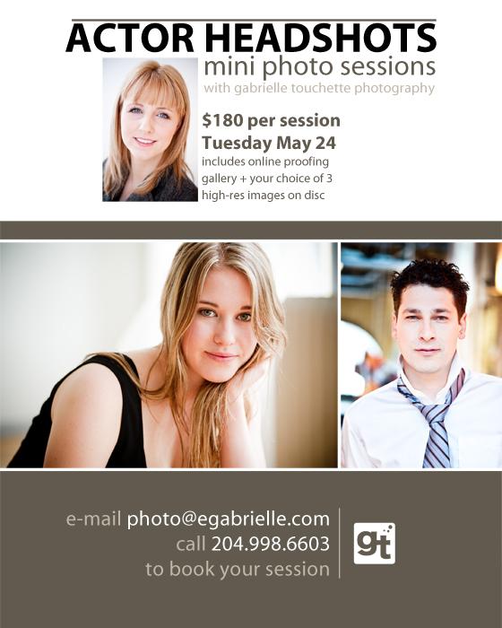 Winnipeg Actor Headshots: mini photo sessions